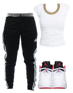 """Btch I Got The Tommy No Hilfiger ♡"" by prettygirlnunu ❤ liked on Polyvore featuring Retrò, Tommy Hilfiger, adidas and Club Manhattan"