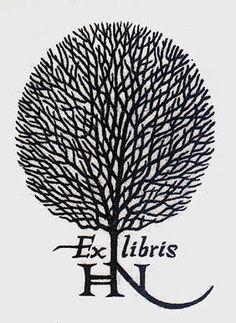 Jacques Hnizdovsky's Ex-Libris Hnizdovsky original woodcut is printed upon mulberry paper as created by Hnizdovsky in 1972