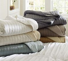 Silk Channel Two-Toned Quilt & Sham #potterybarn