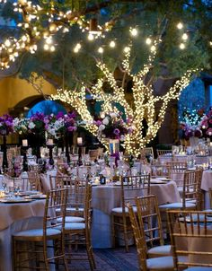 outdoor wedding table setting with lights