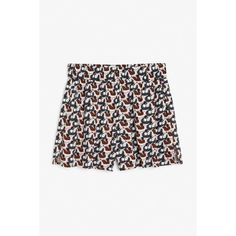 Monki Printed shorts ($20) ❤ liked on Polyvore featuring shorts, print perfection, elastic waistband shorts, hot short shorts, stretch waist shorts, summer shorts and short shorts
