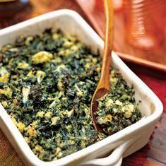Cauliflower And Broccoli Flan With Spinach Béchamel