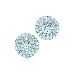 Tiffany Soleste earrings of diamonds in platinum.   Tiffany Co.