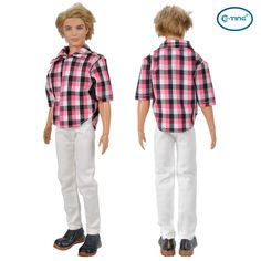 E-TING Red Checked Shirt Blouse PantsTrousers Doll Clothes For Barbie Ken Dolls