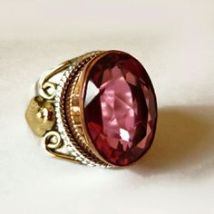 .925 Sterling Silver Rubellite 3 Tone Ring New without tags Jewelry Rings