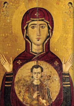Blachernitissa also called Theotokos of Blachernae or Our Lady of Blachernae is a 7th-century encaustic icon representing the Most Holy Theotokos