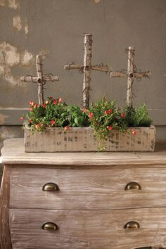 Reclaimed Wooden Display Box with 3 Crosses: