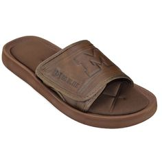 Mens Marshall Thundering Herd Memory Foam Slide Sandals Size Large Brown  Slide sandals and Memory foam