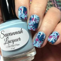"""So cool!!! Nice mix!!! .  Regrann from @10digits2polish -  Wanna know the quickest and LEAST messy way to get this """"splat"""" mani look? Use the @linanailartsupplies Make Your Mark 01 plate.  For my base color I used @savannahlacquer Forsyth Fountain and double stamped with @savannahlacquer Navy Nights and Olde Pink.  They apply perfectly and stamp just as well.  Video tutorial up next. . #linanailartsupplies #stampingnailart#stampingaddict #nailart #naildesign#nailpromote #nailstamping…"""