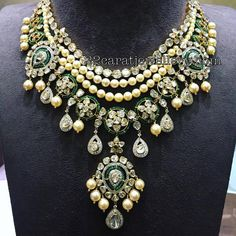 Pearls and Pachi set with Diamond Drops