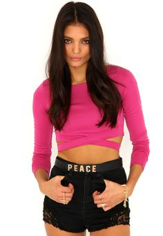 8740e629a2 Chara Bandage Waist Crop Top In Hot Pink