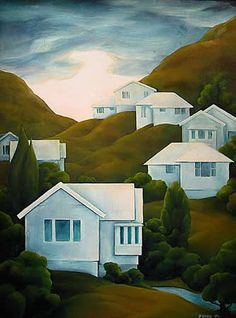 NZ artist Peter Sidell's house hill painting New Zealand Houses, New Zealand Art, Contemporary Art Daily, Contemporary Artists, Thinking In Pictures, Nz Art, Kiwiana, Home Icon, Urban Landscape