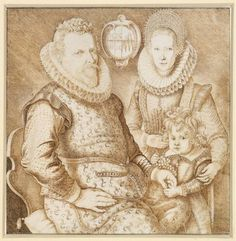 Anonymous - Portrait of a Man and Woman with Their Little Son and Family Crest - c. 1610-1625
