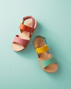 Banded Leather Sandals, Sizes 10-4