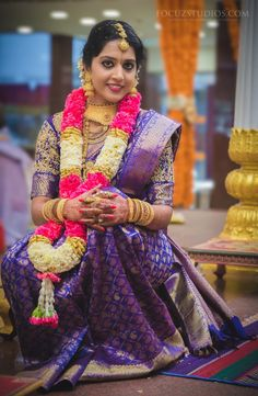 Choose the Pantone colour of the year Ultra Violet for your big day violet color bridal saree - Violet Things Bridal Sarees South Indian, Bridal Silk Saree, South Indian Bride, Silk Sarees, Kerala Bride, Hindu Bride, Indian Bridal Makeup, Indian Bridal Fashion, Bridal Looks