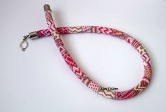 Pink and Red Colors Bead Crochet Necklace   Beaded by alevduzen