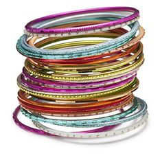 Something fun?  The Watermelon Bangle Stack!  Fit for the summer -- Dip your arms into this juicy watermelon stack - fruity oranges, tropic pinks and luscious greens sparkle in the sunlight.