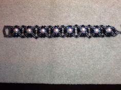 Crown of Pearls Bracelet in Blues. Pattern by Sandy Fleming.