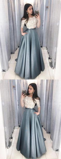 Dramatic Two Piece Long Prom Dresses with Sleeves, Off the Shoulder Grey Prom Dress with Pockets, Hottest Long Prom Party Dresses for Teens Grey Prom Dress, Elegant Prom Dresses, Cheap Evening Dresses, Dress Lace, Prom Dresses For Teens Long, Lace Outfit, Prom Dress Long, Prom Dresses Long Modest, Long Dress Formal Elegant