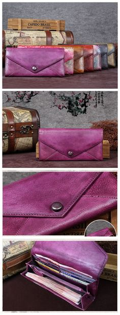 Women's Long Leather Wallet Button Clutch Purse Card Holder Case
