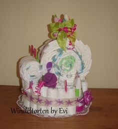 snail diaper cake for baby girl (with instructions)