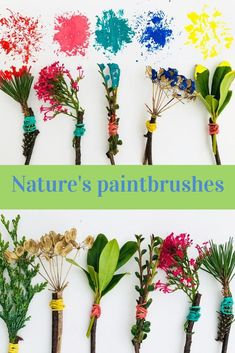 Nature Crafts Collect up some leaves and flowers on your next Sunday walk, tie them to some big twigs and you will have your very own paintbrushes. This kids craft is ideal for toddlers who will love experimenting with the different leaves and textures. Toddler Crafts, Kids Crafts, Arts And Crafts, Kids Nature Crafts, Nature For Kids, Kids Outdoor Crafts, Crafts For Children, Flower Crafts Kids, Garden Crafts For Kids