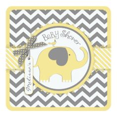 Yellow Elephant and Chevron Print Baby Shower Invitation