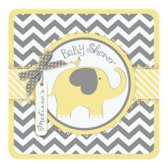 Yellow Elephant and Chevron Print Baby Shower Invitation