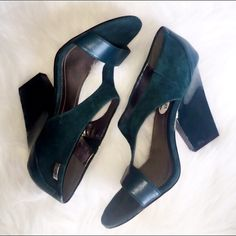 """Calvin Klein Green Suede Block Heel 7.5 Avant garde! These are so incredible! 4.5"""" patent leather block heel, leather and suede uppers. They still have the price tags on, never worn outside the house. No box. The price is right to own them today! Calvin Klein Shoes Heels"""