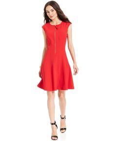 Maggy London Cap-Sleeve Zip-Front Dress - Dresses - Women - Macy's