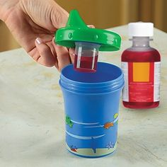 """No more """"I-won't-take-my-medicine"""" wars! This everyday sippy cup has a brilliant secret: a hidden medicine dispenser inside! When your child requires medication, just fill it as needed, snap it in place, and let your child's favorite beverage mask the taste. Beats diluting medications directly, because you can see exactly how much medication your child consumes. Invented by a doctor dad for his own children."""