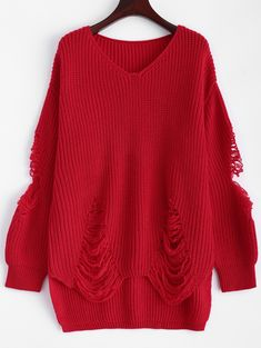 Sweaters & Cardigans | Red Chunky Distressed Pullover Sweater - Gamiss