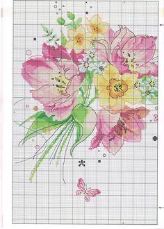 Cross stitch - flowers: tulips and daffodils (free pattern - chart - part Cross Stitch Pillow, Cross Stitch Needles, Cross Stitch Borders, Cross Stitch Rose, Cross Stitch Flowers, Counted Cross Stitch Patterns, Cross Stitch Charts, Cross Stitch Designs, Cross Stitching