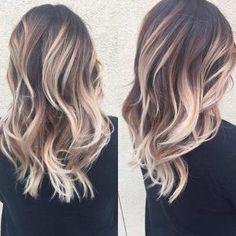 Blonde Balayage Highlights on Brunette Hair