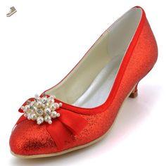 57a1ef8f300 Elegantpark EP2101 Women s Low Heels Closed Toe Party Pumps Pearls Bow  Glitter PU Wedding Prom Shoes