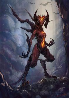 Typical demon with the horns and fire. Aside from that the details are nice. Very WoW and Diablo like. Dark Fantasy Art, Fantasy Artwork, Fantasy Kunst, Dark Art, Demon Artwork, Monster Design, Monster Art, Female Monster, Demon Dragon