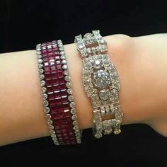Ruby bracelet by Van Clef Arpels Diamond bracelet by Cartier via Christie's