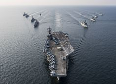 WATERS SURROUNDING THE KOREAN PENINSULA (Oct. 14, 2016) The Navy's only forward-deployed aircraft carrier, USS Ronald Reagan (CVN 76), steams in formation with ships from Carrier Strike Group Five (CSG 5) and Republic of Korea Navy (ROKN) during Exercise Invincible Spirit. (U.S. Navy photo by Seaman Jamaal Liddell/Released)