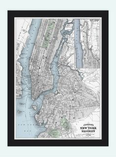 http://www.vintage-maps-prints.com/collections/vintage-city-maps/products/old-map-of-new-york-brooklyn-united-states-of-america-manhattan-antique-1886  Old Map of New York Brooklyn  United States of America Manhattan antique 1886 - product image