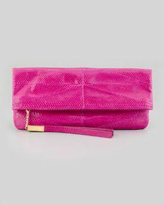 V1QGQ B Brian Atwood Robin Soft Snake Fold-Over Clutch Bag, Magenta