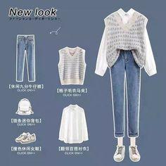 Korean Casual Outfits, Korean Outfit Street Styles, Retro Outfits, Cute Casual Outfits, Korean Girl Fashion, Korean Fashion Trends, Ulzzang Fashion, Korean Street Fashion, Vetements Clothing