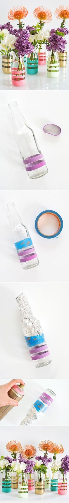 DIY Upcycling Glass Bottles Into Vases