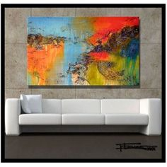 Modern Abstract Painting, Limited Edition Giclee on Canvas. Ready to Hang. xl 48 x 30 x 1.5 Direct from artist...ELOISExxx $250.00