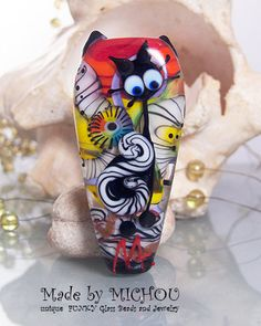 Cat & Owl Art Glass Focal Bead by Michou P. by michoudesign