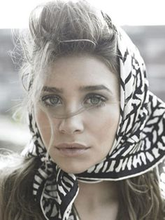 Granny inspired: Olsen in a head scarf.