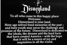 Dedication to Disneyland. The last time I went to Disneyland I cried because the song during the fireworks said something about doing everything you want to be. What I want to be is hard. Disney Facts, Disney Trips, Disney Love, Disney Magic, Walt Disney, Disney Stuff, Disney Vacations, Disney Family, Disneyland Quotes