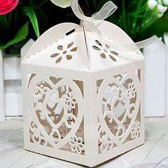 [AU$ 12.41] Heart Shape Laser Cut Cubic Favor Boxes With Ribbons (Set of 12)…