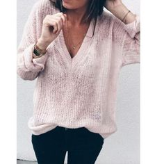 dd677c41e0d7 Fashionable Female Loose Sweater Mohair Deep V neck Tops Casual Sexy Basic  Sweaters Trendy Brand Thin Knitted Jumper Women Girl
