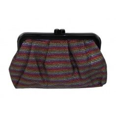 Monsoon accessorize metallic zig zag pattern fabric clutch bag