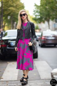 Joanna Hillman of Harper's Bazaar wearing crop leather jacket, Dries Van Noten dress and Céline shoes before Kenzo fashion show. Shop this look (or similar) here: Jacket: FAITH CONNEXION Thin Bubble cropped leather biker jacket Dress: DURO OLOWU multi print belted dress STYLE DU MONDE on Instagram